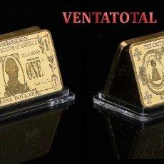 Monedas antiguas de América: LINGOTE 1 DOLAR ORO DE 24 KILAT 40 GRAMOS( WASHINGTON - PRESIDENTE DE 1789 A 1797 ESTADOS UNI)N1. Lote 152211910