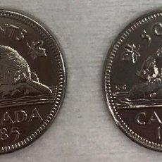 Monedas antiguas de América: CANADA - DOS MONEDAS DE CINCO CENTAVOS (5 CENTIMOS) AÑO 1985 - KM60.2A - BIEN CONSERVADAS. Lote 128387359