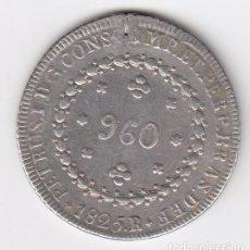 Monedas antiguas de América: PIEZA MUY RARA BRASIL 960 REIS 1825 R ACUÑADA SOBRE 8 REALES ESPAÑOLES (26,70 GR-40MM. PLATA) MBC+. Lote 212977838