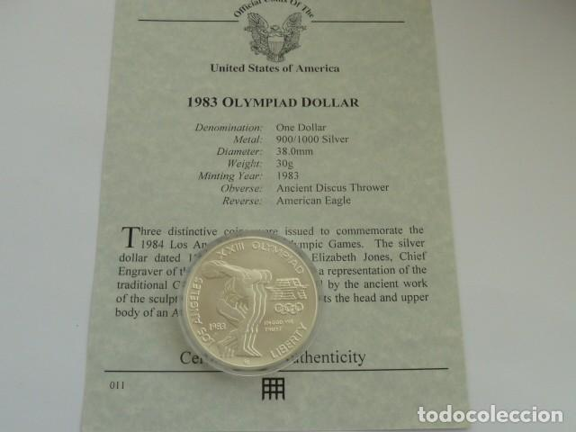 MONEDA DE PLATA DE 1 DOLAR DE 1983 D DE USA, OLIMPIADAS, PESA 26,7 GRS. CERTIFICADO AUTENTICIDAD (Numismática - Extranjeras - América)