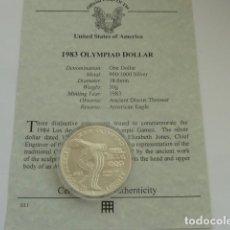 Monedas antiguas de América: MONEDA DE PLATA DE 1 DOLAR DE 1983 D DE USA, OLIMPIADAS, PESA 26,7 GRS. CERTIFICADO AUTENTICIDAD. Lote 128657827