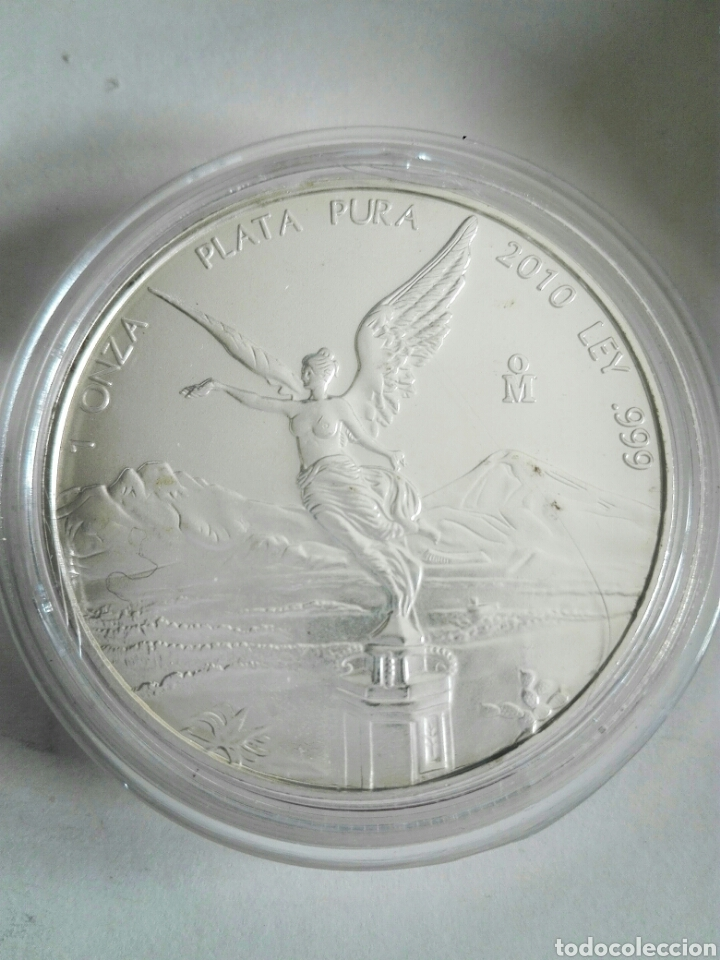 MONEDA DE ONZA DE MÉJICO DE 2010. PLATA. SIN CIRCULAR. ENCAPSULADA (Numismática - Extranjeras - América)