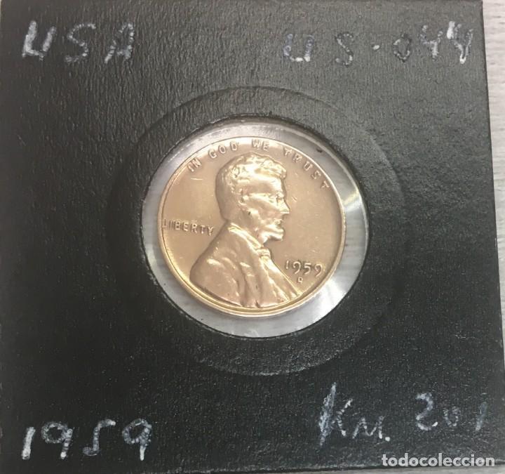 Monedas antiguas de América: USA/EE.UU - UNA MONEDA DE UN CENTAVO (ONE CENT) - AÑO 1959 - Km.201 - Ceca D - MUY BIEN CONSERVADA - Foto 3 - 142889305