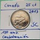 Monedas antiguas de América: CANADÁ - 25 CENTS 2017 - 150 AÑIV. CONFEDERCIÓN DE CANADÁ - ENCARTONADA DE CARTUCHO ORIGINAL. Lote 131044948