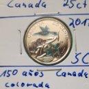 Monedas antiguas de América: CANADÁ - 25 CENTS 2017 - 150 AÑIV. CONFEDERCIÓN DE CANADÁ - ENCARTONADA Y COLOREADA - DE CARTUCHO. Lote 133315451