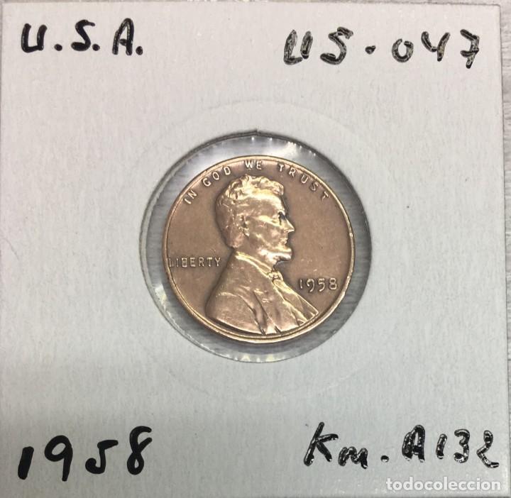 Monedas antiguas de América: USA-EE.UU - UNA MONEDA DE ONE CENT (1 Centavo) AÑO 1958 - Km.A132 - MUY BIEN CONSERVADA - Foto 3 - 142889454