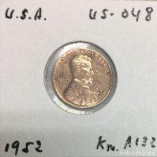 Monedas antiguas de América: USA-EE.UU - UNA MONEDA DE ONE CENT (1 CENTAVO) AÑO 1952 - KM.A132 - VER SEÑALES DE USO. Lote 131692218