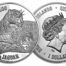 Monedas antiguas de América: ISLAS VIRGENES BRITANICAS: 1 DOLAR 2015 PROOF JAGUAR NOVOSIBIRSK ZOO. Lote 195065160