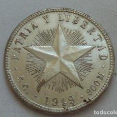Monedas antiguas de América: MONEDA DE PLATA DE 20 CENTAVOS DE PESO DE CUBA DE 1949. Lote 132708066