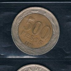 Monedas antiguas de América: MONEDAS 500 PESOS CHILE 2001 EE.UU. CANADA Y OTRAS. 2 FOTOGRAFÍAS. Lote 135167214