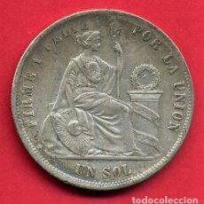 Monedas antiguas de América: MONEDA PLATA PERU , REPUBLICA PERUANA , UN 1 SOL 1874 , 900 MILESIMAS , MBC+ , ORIGINAL , B21. Lote 135679031