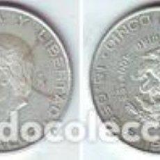 Monedas antiguas de América: MÉXICO 5 PESOS PLATA 1955 HIDALGO S/C-. Lote 137235562