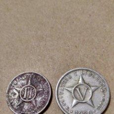 Monedas antiguas de América: CUBA DOS CENTAVOS 1915 Y 5 CENTAVOS 1920. Lote 139214205