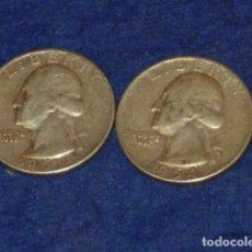 Monedas antiguas de América: MONEDA CUARTO DE DOLAR DE PLATA 2 MONEDAS 1951 Y 1954. Lote 139763582