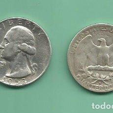 Monedas antiguas de América: PLATA-USA. 2 MONEDAS DE QUARTER 1953-D,1953-S . MONEDAS DE 6,25 GR.LEY 0,900. Lote 139830566