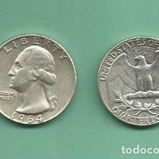 Monedas antiguas de América: PLATA-USA. 2 MONEDAS DE QUARTER 1964,1964-D . MONEDAS DE 6,25 GR.LEY 0,900. Lote 139831122