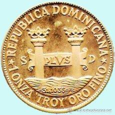 Monedas antiguas de América: REP. DOMINICANA.-1977 1 ONZA TROY ORO FINO - PRUEBA PIEFORT BRONCE DORADO 200 PESOS 42,7 GR. PROOF. Lote 140340202