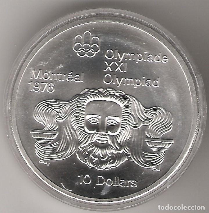 MONEDA CANADÁ, 10 DOLLAR DOLAR PLATA (48,48 GRS LEY 925 MLS), 1974 JJ.OO. MONTREAL 76 ZEUS SC (Numismática - Extranjeras - América)