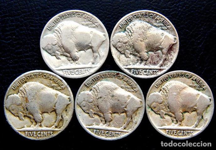ESTADOS UNIDOS - 5 CÉNTIMOS 1924, 1925, 1925S, 1926 Y 1927 'BÚFALO' (5 PIEZAS) (Numismática - Extranjeras - América)