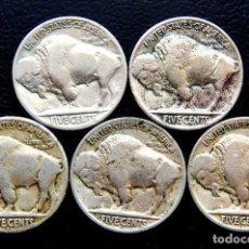 Monedas antiguas de América: ESTADOS UNIDOS - 5 CÉNTIMOS 1924, 1925, 1925S, 1926 Y 1927 'BÚFALO' (5 PIEZAS). Lote 140813654