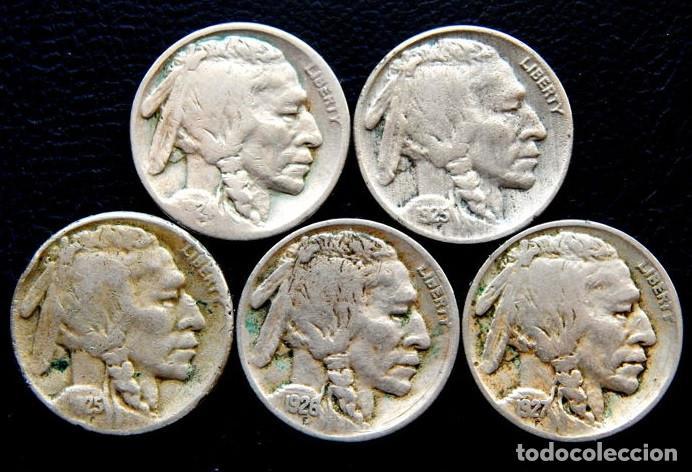 Monedas antiguas de América: Estados Unidos - 5 Céntimos 1924, 1925, 1925S, 1926 y 1927 Búfalo (5 piezas) - Foto 2 - 140813654