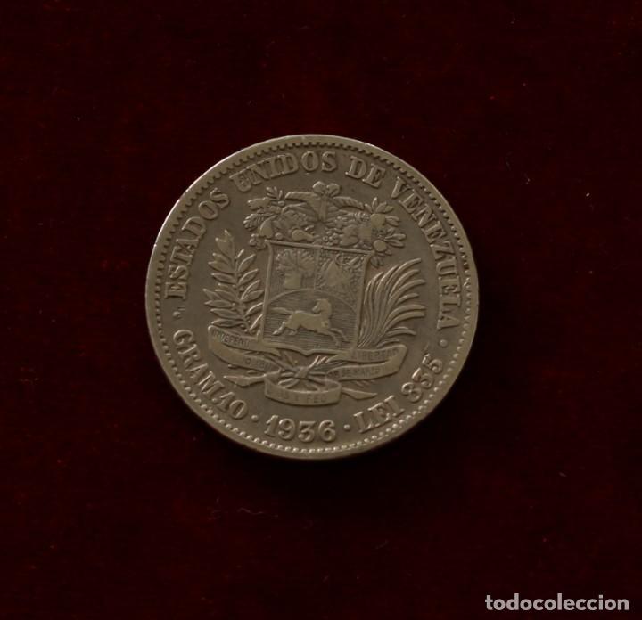 2 BOLIVARES 1936 PLATA VENEZUELA (Numismática - Extranjeras - América)