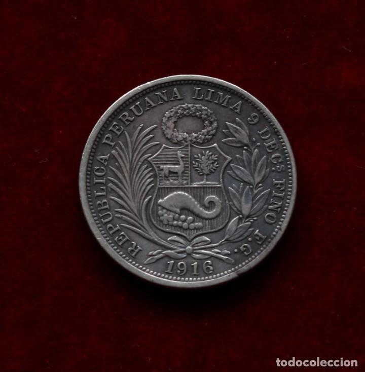 1/2 DE SOL 1916 PLATA PERU (Numismática - Extranjeras - América)