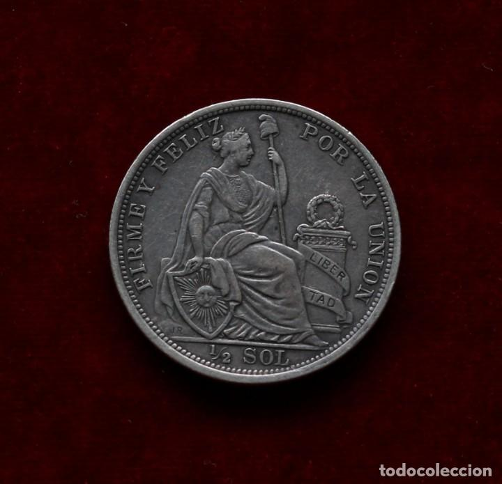 Monedas antiguas de América: 1/2 DE SOL 1916 PLATA PERU - Foto 2 - 142789774
