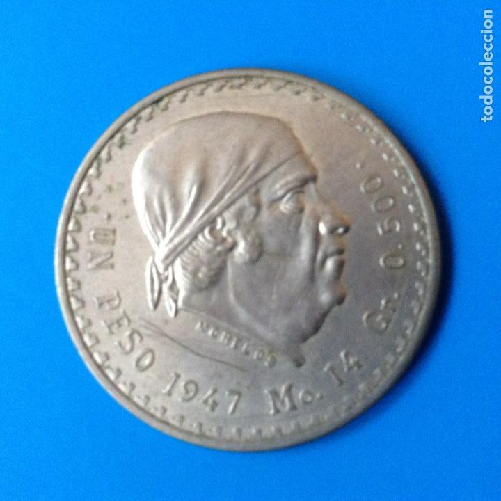 MEXICO 1 PESO PLATA 1947 MORELOS (Numismática - Extranjeras - América)
