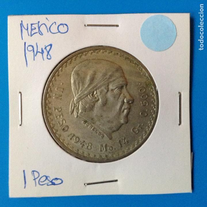 MEXICO 1 PESO PLATA 1948 MORELOS (Numismática - Extranjeras - América)