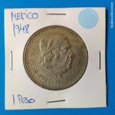 Monedas antiguas de América: MEXICO 1 PESO PLATA 1948 MORELOS. Lote 142888542