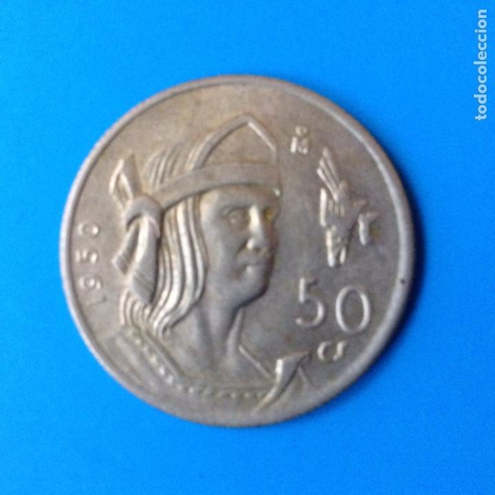 MEXICO 50 CENTAVOS PLATA 1950 CUAUHTEMOC (Numismática - Extranjeras - América)