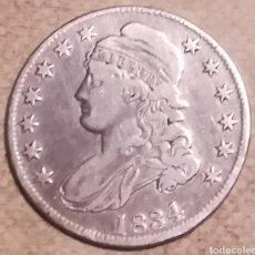 Monedas antiguas de América: MONEDA MEDIO DOLAR DE PLATA CAPPED BUST 1834 - AUTÉNTICA. Lote 143655837