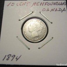 Monedas antiguas de América: MONEDA DE 10 CENTAVOS DE NEWFOUNLAND REINA VICTORIA (CANADA) 1894 RARA. Lote 144511138