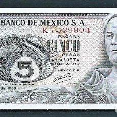 Monedas antiguas de América: BILLETE DE CINCO PESOS; MÉXICO,1969, SIN CIRCULAR. Lote 210821559
