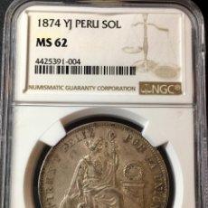 Monedas antiguas de América: ¡¡ RARA ASI !! PRECIOSA MONEDA DE 1 SOL DE PERU. AÑO 1874. Y.J NGC MS62!!!. Lote 147226070