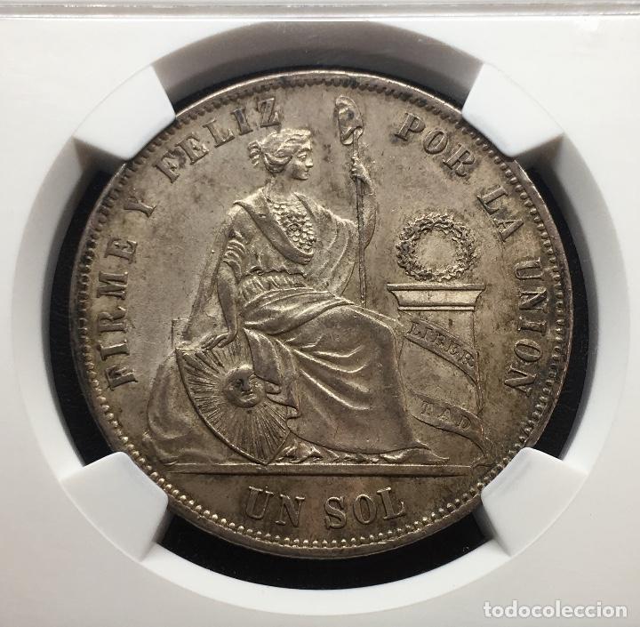 Monedas antiguas de América: ¡¡ RARA ASI !! PRECIOSA MONEDA DE 1 SOL DE PERU. AÑO 1874. Y.J NGC MS62!!! - Foto 2 - 147226070