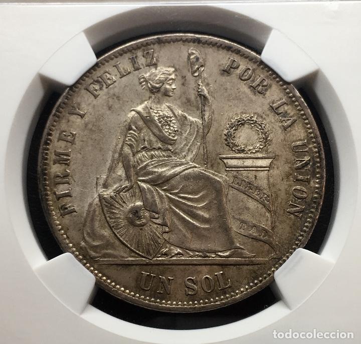 Monedas antiguas de América: ¡¡ RARA ASI !! PRECIOSA MONEDA DE 1 SOL DE PERU. AÑO 1874. Y.J NGC MS62!!! - Foto 4 - 147226070