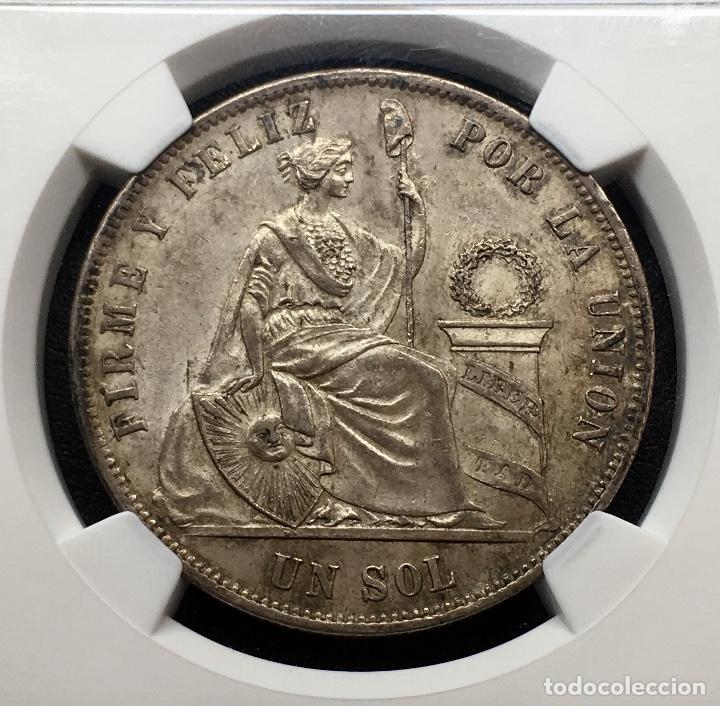 Monedas antiguas de América: ¡¡ RARA ASI !! PRECIOSA MONEDA DE 1 SOL DE PERU. AÑO 1874. Y.J NGC MS62!!! - Foto 6 - 147226070