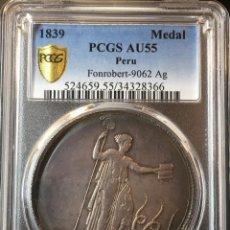Monedas antiguas de América: ¡¡ ESCASA !! BONITA MEDALLA DE PLATA. PROCLAMACION DE LA CONSTITUCION DEL PERU. 1839. NGC AU55!!. Lote 147496942