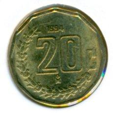 Monedas antiguas de América: MÉXICO MÉJICO 20 CENTAVOS 1994 ( SC ) KM # 548. Lote 147555566