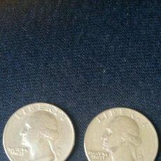 Monedas antiguas de América: DOS MONEDAS DE QUARTER DOLLAR DE USA DE 1965 Y1966 MUY BUEN ESTADO. Lote 149940446