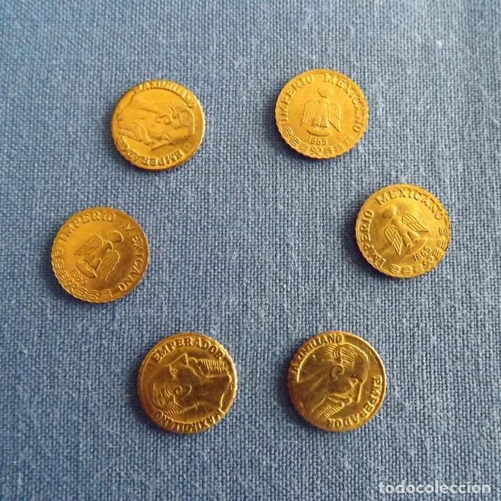 6 MONEDAS CHAPADAS EN ORO 24K CONMEMORIATIVAS MAXIMILIANO 1865 IMPERIO MEXICANO, 10 MM (Numismática - Extranjeras - América)