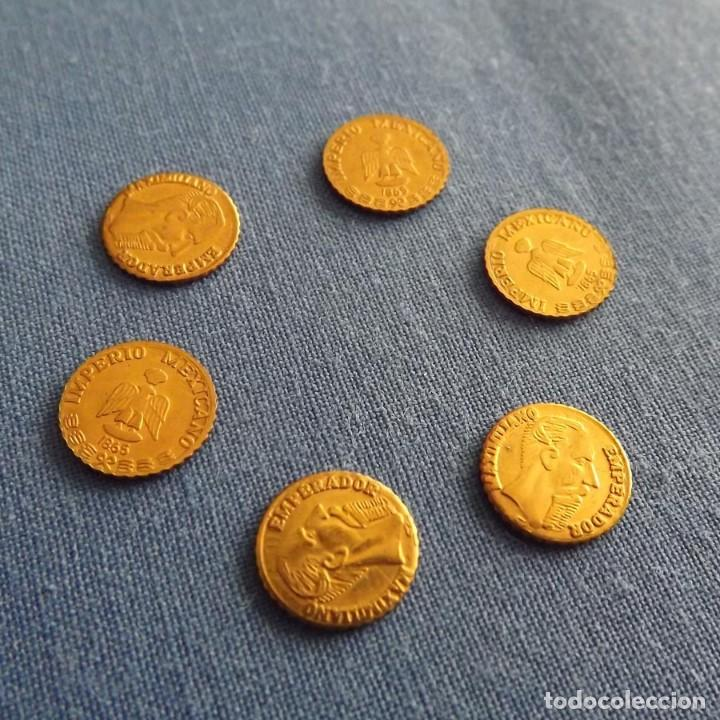 Monedas antiguas de América: 6 monedas chapadas en oro 24k conmemoriativas Maximiliano 1865 Imperio Mexicano, 10 mm - Foto 2 - 150087582