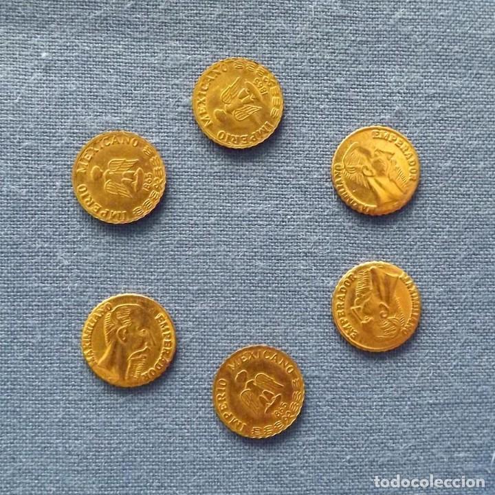 Monedas antiguas de América: 6 monedas chapadas en oro 24k conmemoriativas Maximiliano 1865 Imperio Mexicano, 10 mm - Foto 3 - 150087582