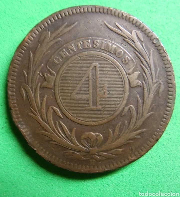 Monedas antiguas de América: 4 centesimos Uruguay 1869 - Foto 2 - 150158156