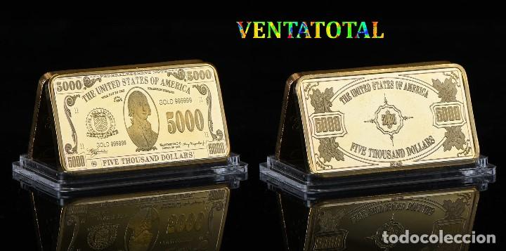 ESTADOS UNIDOS LINGOTE 5 MIL DOLARES ORO 24 KILATES 35 GRAMOS(PRESIDENTE JAMESMADISON 1809 A 1817)N5 (Numismática - Extranjeras - América)