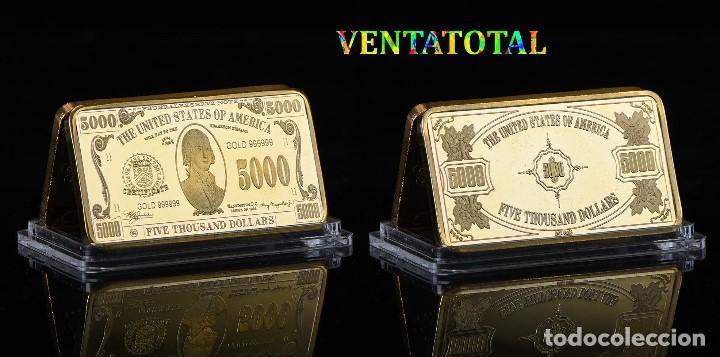 ESTADOS UNIDOS LINGOTE 5 MIL DOLARES ORO 24 KILATES 46 GRAMOS(PRESIDENTE JAMESMADISON 1809 A 1817)N7 (Numismática - Extranjeras - América)