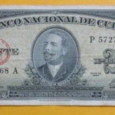 Monedas antiguas de América: CUBA. BILLETE DE 20 PESOS. 1960. FIRMA CHE.. Lote 151717582