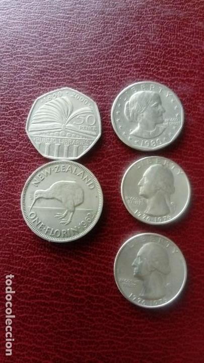 5 MONEDAS: 1DOLAR 1980 , 2 QUARTER DÓLAR 1976 (VER FOTOS) (Numismática - Extranjeras - América)